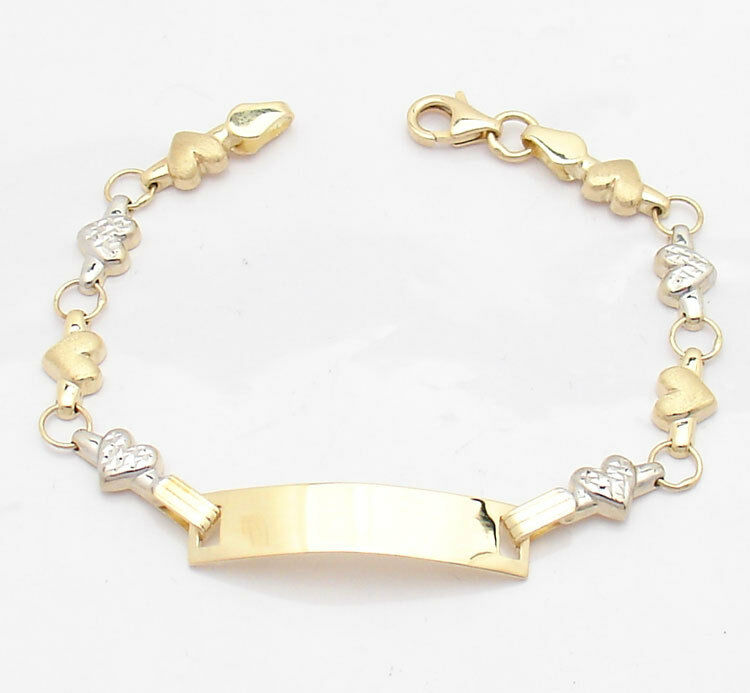 Ladies ENGRAVABLE Diamond Cut ID Heart BRACELET REAL 14K YELLOW WHITE GOLD