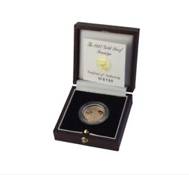 1997 Gold Proof Sovereign with box and certificates