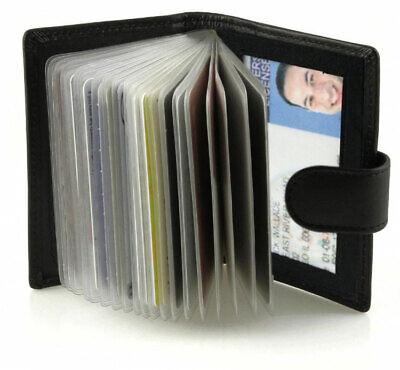Black Leather Business Card Holder Wallet Sleeve Insert ID Pocket Organizer
