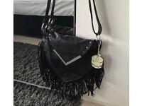 Black tassel long over shoulder bag