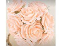 50 champagne/peach foam rose heads
