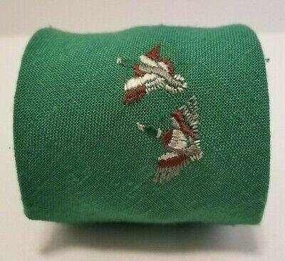 1960s – 70s Men's Ties | Skinny Ties, Slim Ties 1960s MICHAEL REED Mallard Ducks Duck Hunter Hunting Gent's Necktie Linen Tie  $9.00 AT vintagedancer.com