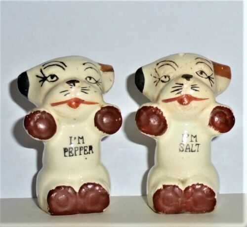 Vintage 1920s-30s Animal CATS (?) Figurines SALT & PEPPER SHAKERS Made in JAPAN