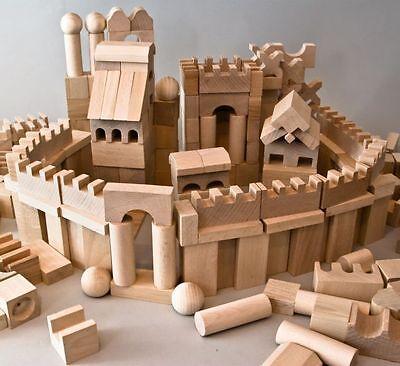 Holzbausteine Buche Natur Holz Bauklötze 220 XL Holzklötze Groß für Festung NEU