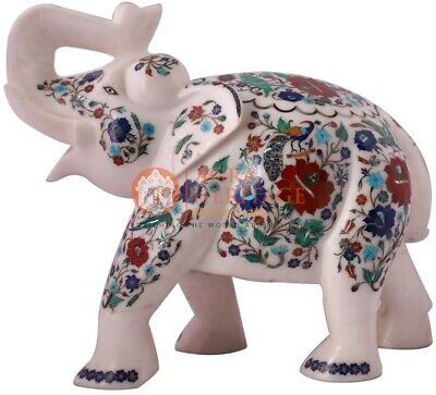 """8"""" Marble Wild Elephant Lapis Peacock Inlay Design Art Thanksgiving Gift Special"""