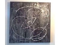 Abstract Wall Art; Grey Solar System an Original Canvas 90 x 90cm Hand Painted