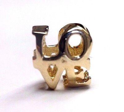 Cute! Solid 14K Yellow Gold LOVE European Charm Pendant Slide