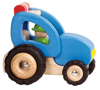 TRAKTOR Trecker blau Bauernhof Fahrzeug Holzfahrzeug Holz robust Gummireifen NEU