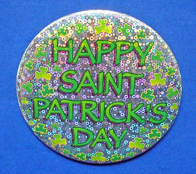 BUTTON PIN St Patrick Vintage HAPPY DAY Silver Glitter SHAMROCKS Large IRISH - Glitter Shamrocks