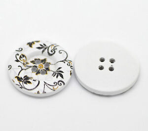 30 Black Flower Floral Pattern 4 Holes Wood Sewing Buttons Scrapbooking 30mm Dia