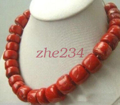 Natural Coral Necklace (Natural originall large beads red coral irregular cube abacus  necklace 18