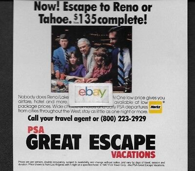 Psa Pacific Southwest Great Escape Vacations To Lake Tahoe   Reno 1987 Ad