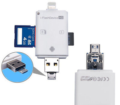 3in1 OTG SD TF Card Reader For iPad for iPhone X 8 7 6S 6 Plus 5S 5 Android IOS