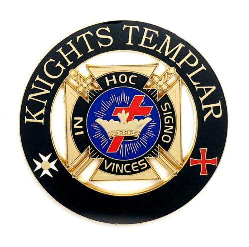 Deluxe Knights Templar car emblem 3 inch black & gold #CD30