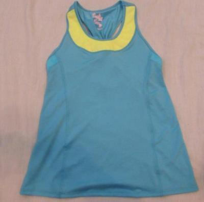LUCKY IN LOVE girls Large 14 blue yellow racerback athletic tennis tank top NEW