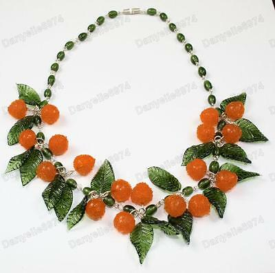 ORANGES fruit&leaves OLIVE murano GLASS BEAD NECKLACE vintage beads ORANGE&LEAF