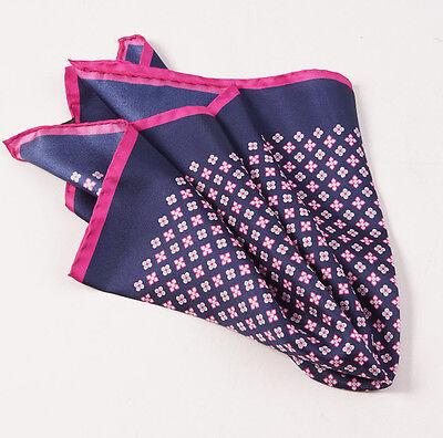 New $215 KITON NAPOLI Navy Blue-Pink Small Floral Medallion Silk Pocket Square