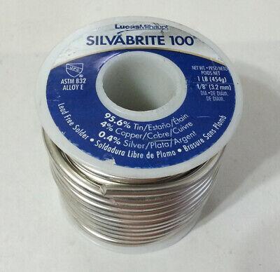 1lb Silvabrite 100 Lead Free Solder 18 95.6 Tin 4 Copper .4 Silver New