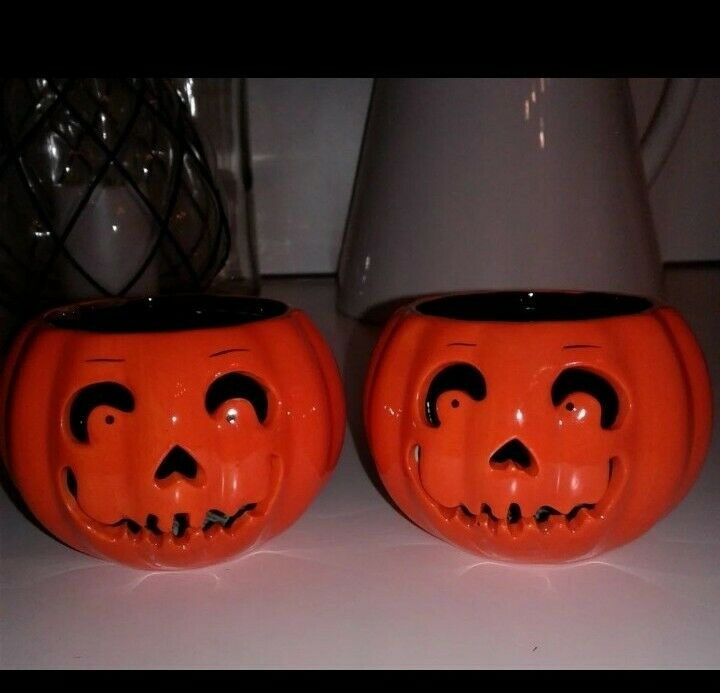 Lot of 2 Slatkin & Co. Ceramic Halloween Pumpkin Jack-O-Lantern Candle Holder