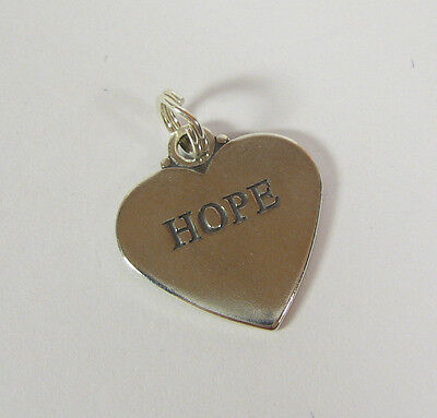 Hope Heart Charm Pendant .925 Sterling Silver USA Made Affirmation Faith Love
