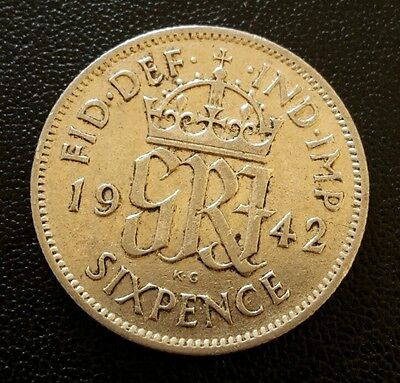 1942 KING GEORGE VI SILVER SIXPENCE