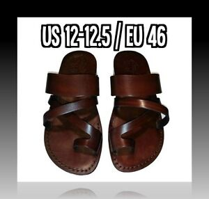 New Brown Biblical Strap Sandals 100% Leather Jesus Sandal Shoes Men Size 6-12