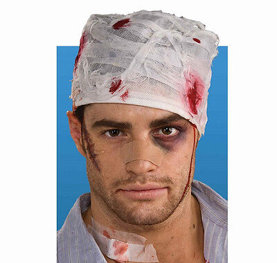 Bloody Head Bandage Wreck Wound Fancy Dress Up Halloween Adult Costume Accessory