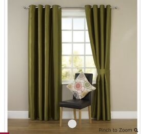 Green curtains.