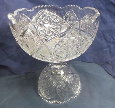 Vintage Cut Crystal Punch Bowl Star Starburst Diamond cut EUC Cut Punch Bowl
