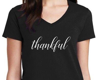 Ladies V-neck NEW Thankful Shirt Thanksgiving T-Shirt Christmas Gift Idea Fall](Fall Ideas)