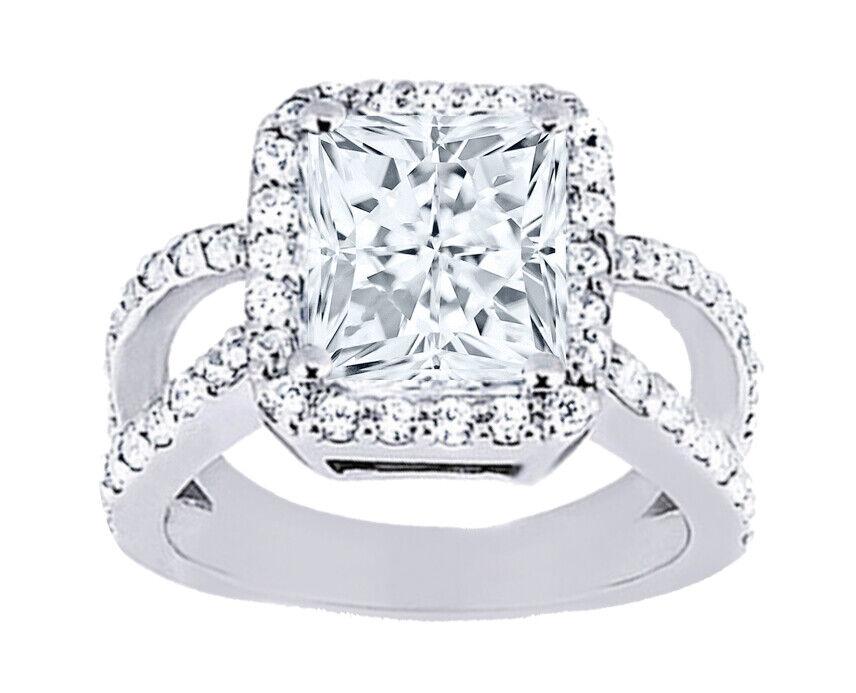 GIA Certified Diamond Engagement Ring  1.78 CTW Princess Cut 14k White Gold