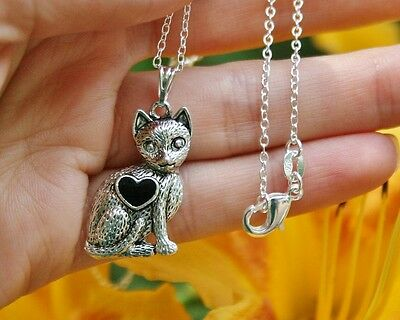 Cat Necklace Heart Kitten Lover Gift Antique Kitty Girly Sterling Silver Chain  ](Girly Gifts)