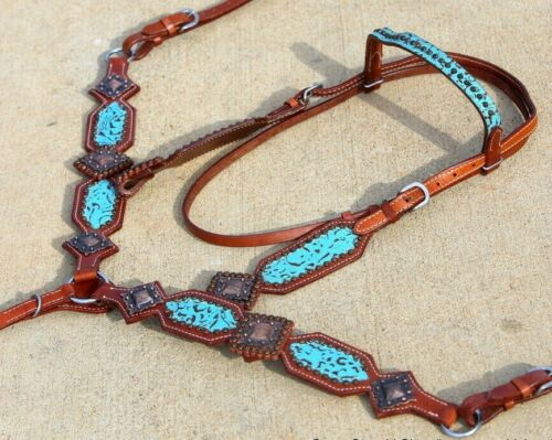 Western Saddle Horse Turquoise Filigree Leather Tack Set Bridle + Breast Collar