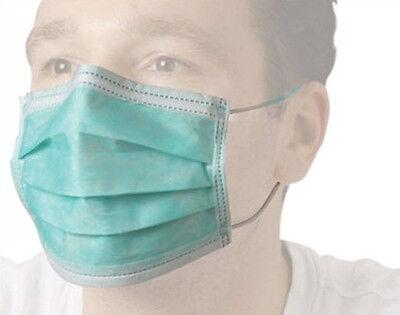 100 Stück Einweg Mundschutz + elastischem Band Staubmaske EN 14683 Typ II