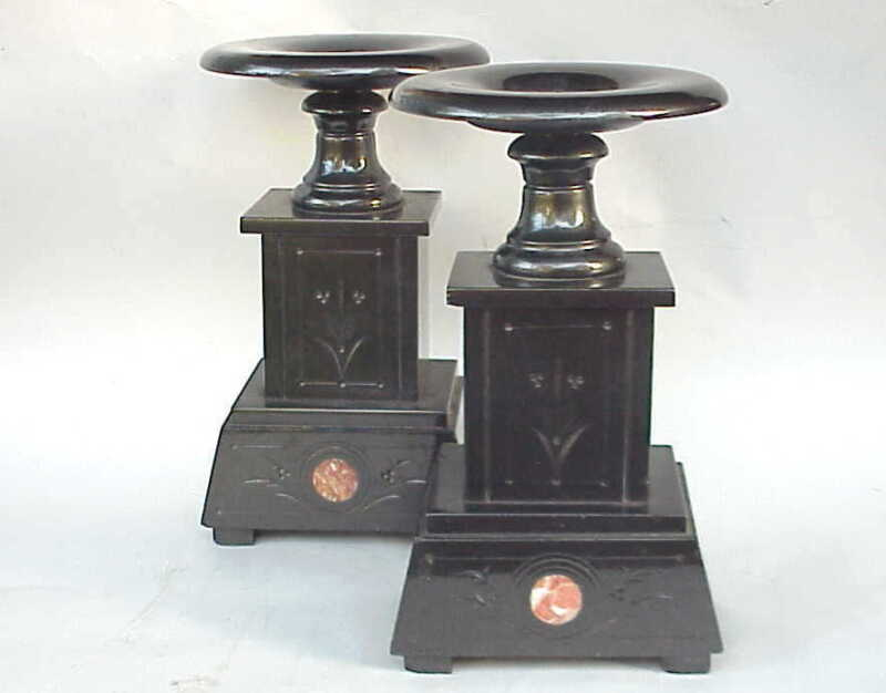 Antique French Black Marble Clock Statue / Candle Pedestal Set