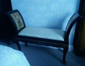 Oriental, vintage wooden love seat bench