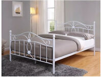 White 4FT6 5FT metal bed frame king size.