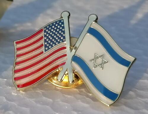 Israel & USA Friendship Flag LAPEL PIN Hat/Shirt Badge Israeli Jewish Star David