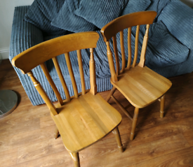Solid Pine Wood Chairs x2