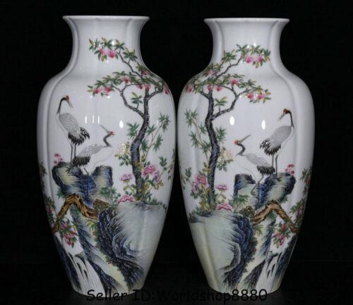 "15"" Qianlong Marked Dynasty Famile Rose Porcelain Crane Peach Bottle Vase Pair"
