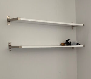 IKEA EKBY White Shelves with Silver Brackets
