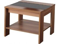 Hollywood Lamp Table in Walnut Veneer/Black Gloss Fully Assembled Brand New
