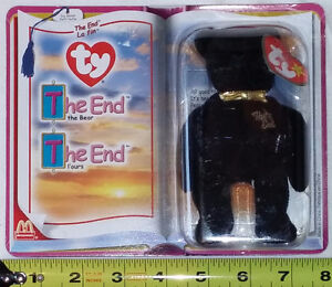 """TY Beanie Babies 2000 - """"The End"""" Black Bear NEW in Box"""