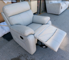 Chair - Quality Extra Greyish Leather Manual Recliner Chair. It's got