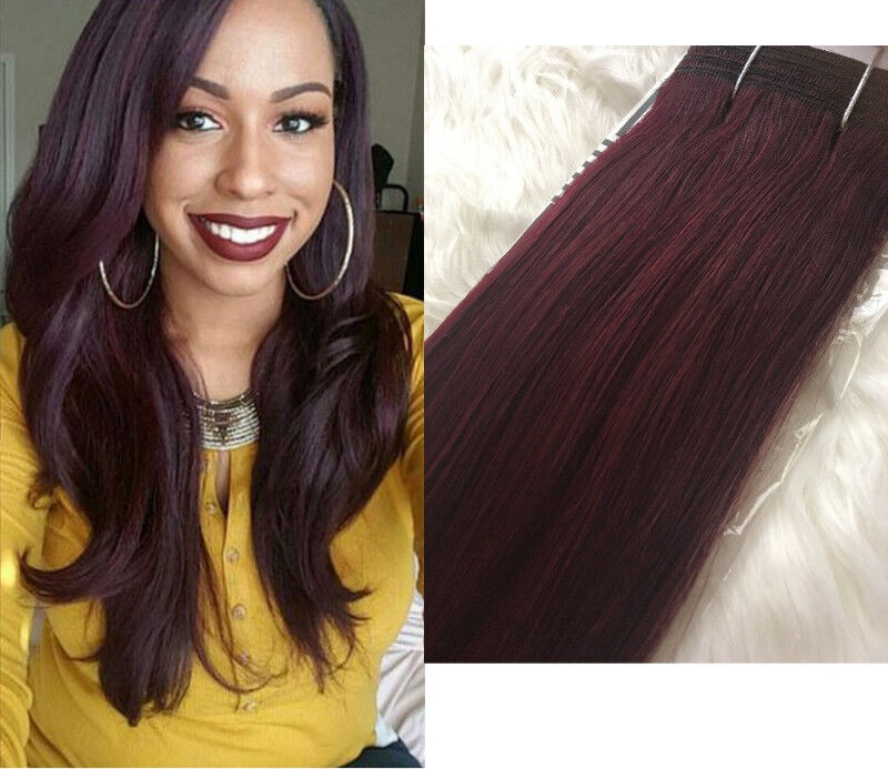 New Light Yaki Non Remy Wine Red 99j Weave Hair Extensions