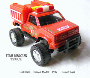 Vintage 1/40 Scale FireRescue Truck Diecast Model 1987 RemcoyToy