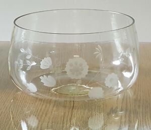 Home - indoor - etched clear glass bowl - 10 inches wide London Ontario image 2