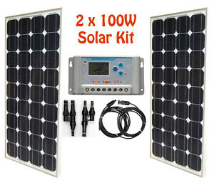 200W 2 x 100W Solar Panel Kit controller cable RV cabin cottage