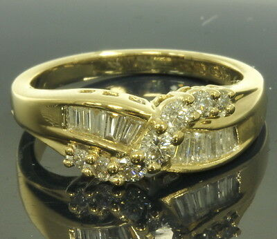 - Ladies 14k Yellow Gold 1/3 Cttw Round Brilliant Baguette Diamond Band Ring