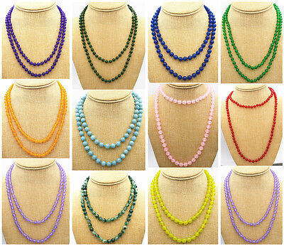 Natural 8MM Jade/ Aquamarine/ Emerald Gemstone Round Beads Necklace 36